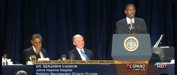 Dr. Ben Carson speaking at Men's Prayer Breakfast